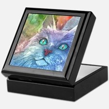 Blue Cat larger Keepsake Box