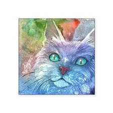 "Blue Cat larger Square Sticker 3"" x 3"""