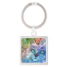 Blue Cat larger Square Keychain
