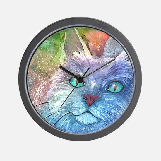 Blue Cat larger Wall Clock