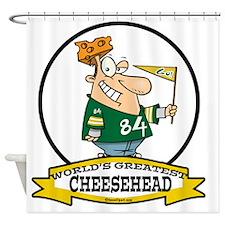 WORLDS GREATEST CHEESE HEAD CARTOON Shower Curtain