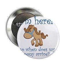 "PonyArrive_Blue 2.25"" Button"