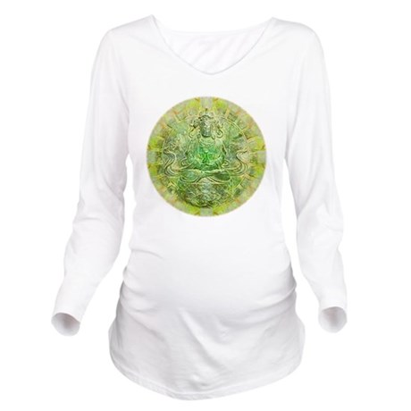 Quan Yin Green Long Sleeve Maternity T-Shirt
