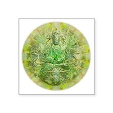 "Quan Yin Green Square Sticker 3"" x 3"""