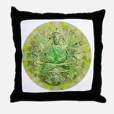 Quan Yin Green Throw Pillow