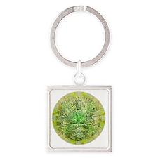 Quan Yin Green Square Keychain