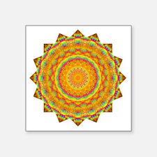 "Rainbow Heart Yoga Mandala  Square Sticker 3"" x 3"""