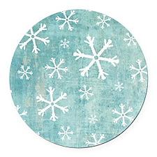 Sad Snowflakes Round Car Magnet
