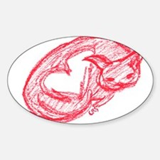 Red v Love Cat Oval Decal
