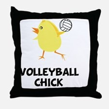 FBC Volleyball Chick Black Throw Pillow
