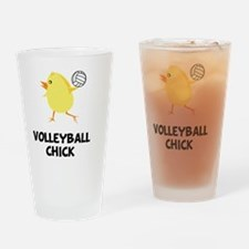 FBC Volleyball Chick Black Drinking Glass