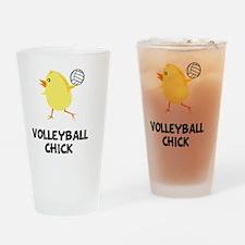 FBC Volleyball Chick Black Drinking Glass