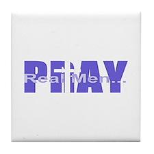 Real Men Pray - Grape Tile Coaster