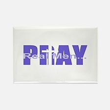 Real Men Pray - Grape Rectangle Magnet