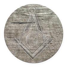 wood base plaque copy Round Car Magnet