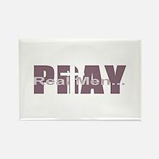 Real Men Pray - Mauve Rectangle Magnet