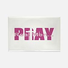 Real Men Pray - Plum Rectangle Magnet