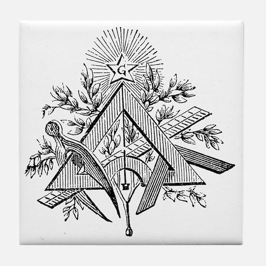 Masonic Working Tools Tile Coaster