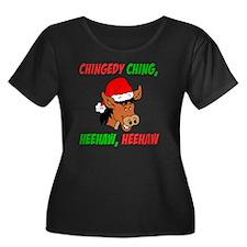 Italian  Women's Plus Size Dark Scoop Neck T-Shirt