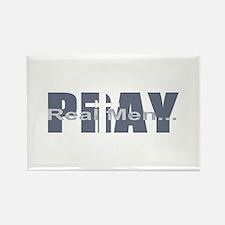 Real Men Pray - Slate Rectangle Magnet