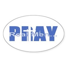 Real Men Pray - Azure Oval Stickers