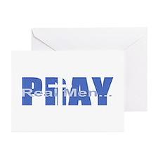Real Men Pray - Azure Greeting Cards (Pk of 10
