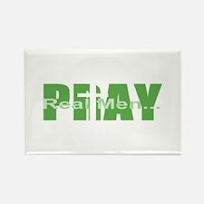 Real Men Pray - Green Rectangle Magnet