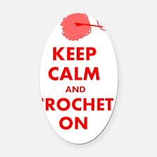 keep calm crochet on Oval Car Magnet