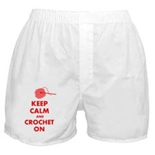 keep calm crochet on Boxer Shorts