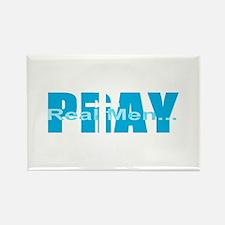 Real Men Pray - Lt Blue Rectangle Magnet