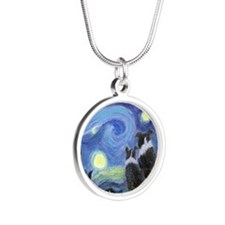 Starry Night for tile coaste Silver Round Necklace