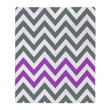 Grey and Purple chevrons pattern 1a Throw Blanket