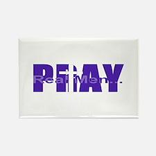 Real Men Pray - Purple Rectangle Magnet