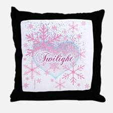 twilight pink snowflakes with heart f Throw Pillow