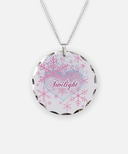 twilight pink snowflakes wit Necklace