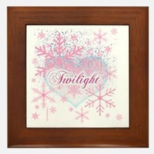 twilight pink snowflakes with heart fo Framed Tile