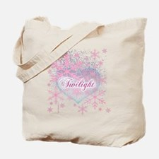 twilight pink snowflakes with heart for b Tote Bag