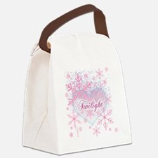 twilight pink snowflakes with hea Canvas Lunch Bag