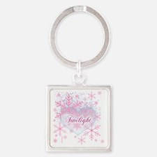 twilight pink snowflakes with hear Square Keychain