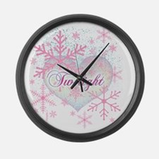 twilight pink snowflakes with hea Large Wall Clock