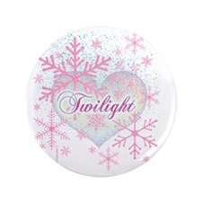 "twilight pink snowflakes with heart fo 3.5"" Button"