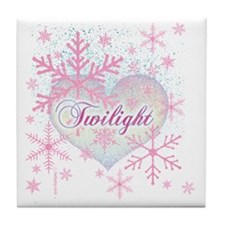 twilight pink snowflakes with heart f Tile Coaster