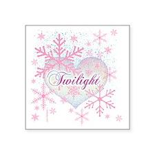 "twilight pink snowflakes wi Square Sticker 3"" x 3"""