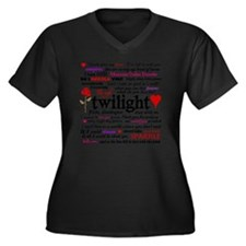 TwiTerms Bla Women's Plus Size Dark V-Neck T-Shirt