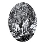 Mythmeet Unicorn, Dragon and more! Oval Ornament
