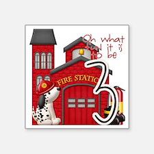 "Firetruck-3rdbday copy Square Sticker 3"" x 3"""
