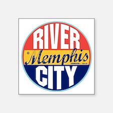 """Memphis Vintage Label W Square Sticker 3"""" x 3"""""""