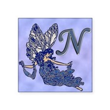"Blue Fairy Monogram BN Square Sticker 3"" x 3"""