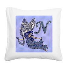 Blue Fairy Monogram BN Square Canvas Pillow