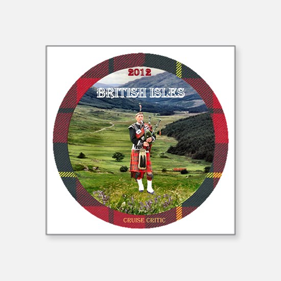 "Bagpiper Farewell - Square Sticker 3"" x 3"""